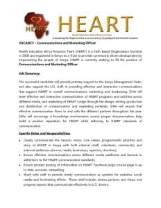 thumbnail of HEART Marketing-Communications Officer Position, Due 14 April 2017