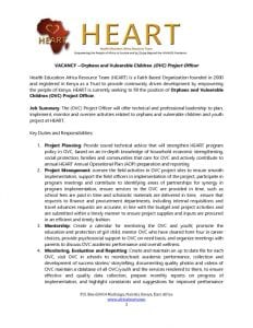 thumbnail of HEART OVC Project Officer Position – Due 14 April 2017