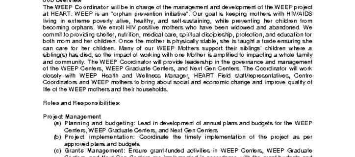 thumbnail of Africa HEART Job Openings – WEEP Project Coordinator, July 2019-