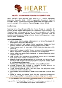 thumbnail of Job Advert – Finance Manager – April 2021
